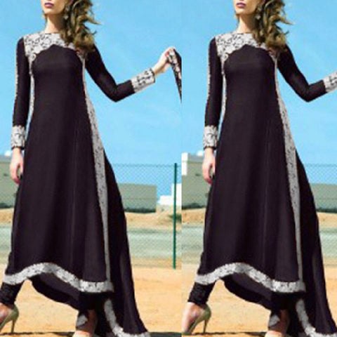 f72d9cc1a78 Floral Lace Vintage Muslim Dress Chiffon Women Summer Kaftan Long Maxi  Dresses O-neck Long