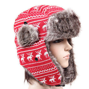 40dbcda0ec ... Free Shipping 2016 New Fashion Winter Warm Deer Snowflake Faux Fur Red Trapper  Hat Winter Cap ...