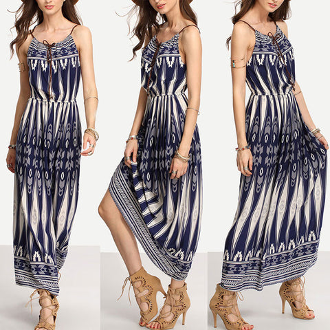 GZDL Plus Size New Women Ladies Halter Sleeveless Boho Bohemian ...