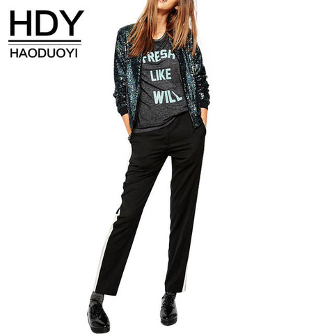 232657e061c4 HDY Haoduoyi Autumn Fashion Women Blingbling sequined outwear coats casual  Loose Bomber Jackets for wholesale and