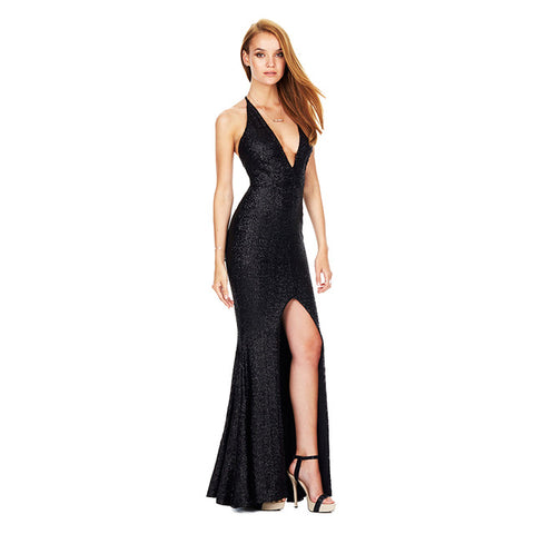 hdy haoduoyi brand 2017 christmas evening sequin long dress sexy deep v neck backless women
