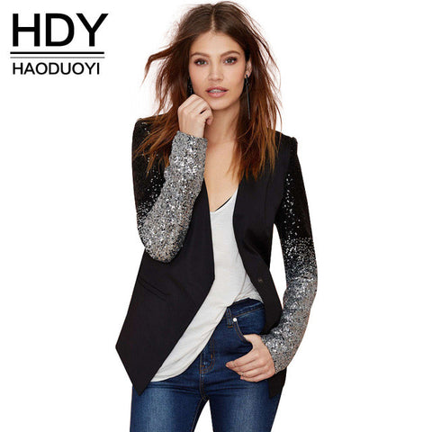3f1e3914b821 HDY Haoduoyi slim women Pu patchwork Black silver sequins Jackets Full sleeve  Fashion winter coat for