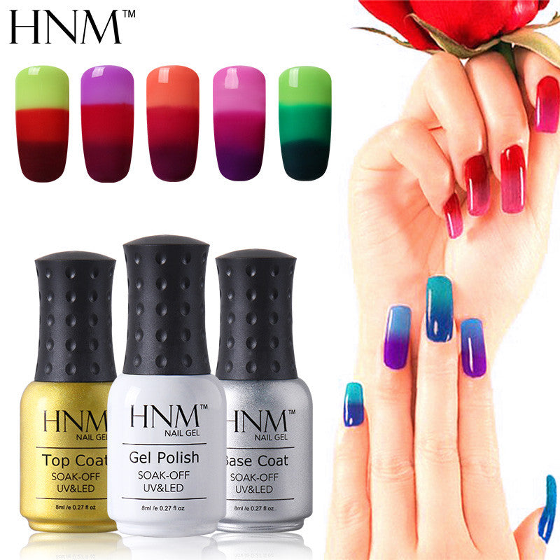 HNM Temperature 3 Colors Changing Gel Nail Polish Mood Nail Gel ...