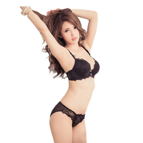 Hot Girls Side Support Deep V Bra Sets Women V Lace Embroidery Bra Sets