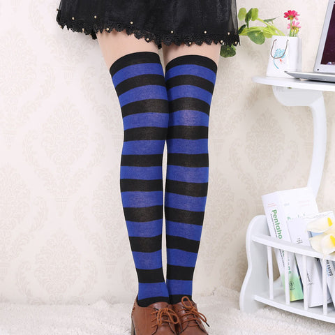 575c176c2 ... Hot New Sexy Women Girl Striped Cotton Thigh High Stocking Over the Knee  Socks Fashion Stockings ...