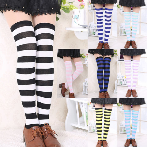 e1d43bf358611 Hot New Sexy Women Girl Striped Cotton Thigh High Stocking Over the Knee Socks  Fashion Stockings ...