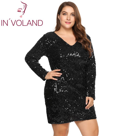 Involand Womens Dress Plus Size Sexy Deep V Neck Long Sleeve