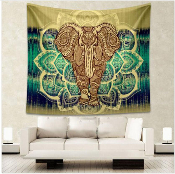 Indian Elephant Tapestry Aubusson Colored Printed Decor Mandala Tapestry Religious Boho Wall Carpet LivingRoom Blanket Plus Size