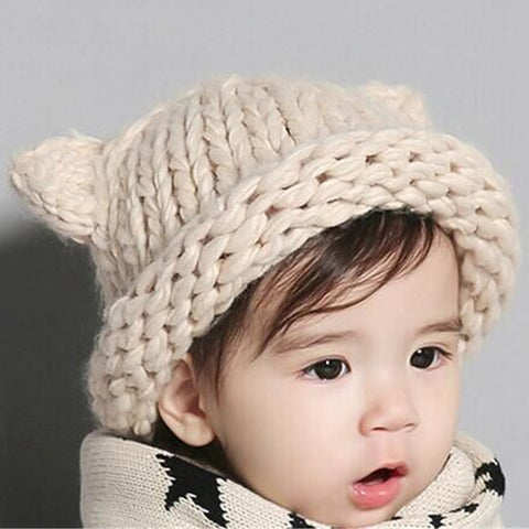 465d0e6c3d5 Knitted Beanies Baby kawaii Cut Hat with Ears Solid Christmas Girls Boys  Hats Winter Warm Toddler