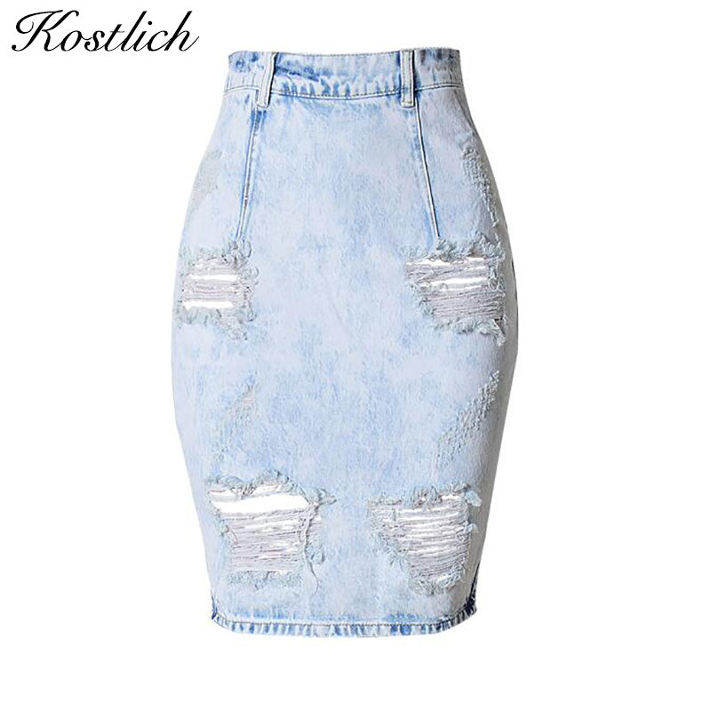 Kostlich Back Split Sexy Women Jean Skirt 2017 New Holes Ripped Jeans u2013 Honeybee Line