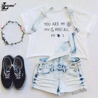 """You're My Sunshine"" Letter Moon Stars Crop Tops"