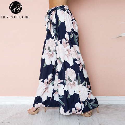 e82fadc8bd ... Lily Rosie Girl Sexy Floral Print Wide Leg Pants Women Long Casual Pant  2018 Summer Boho ...