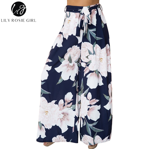 40ea5fd46d Lily Rosie Girl Sexy Floral Print Wide Leg Pants Women Long Casual Pan –  Honeybee Line