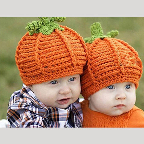 78a5b4bc97b Lovely Newborn Baby Boys Girls Cute Pumpkin Cap Handmade Knitted Croch –  Honeybee Line