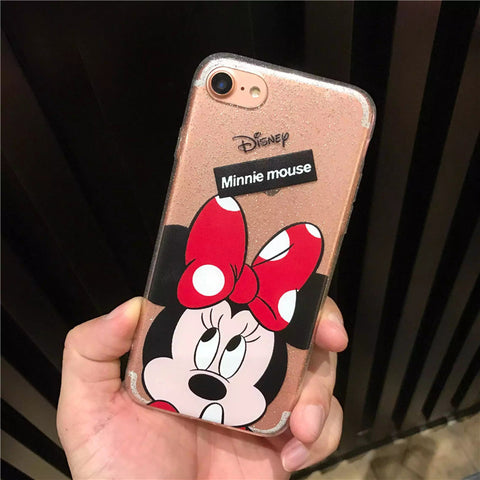 buy online 3681e cd41c Luxury Clear Bling Gliter Mickey Minnie Mouse Phone Cases Fundas for iPhone  7 6 6S Plus SE 5S 5 All Protective Cover Coque