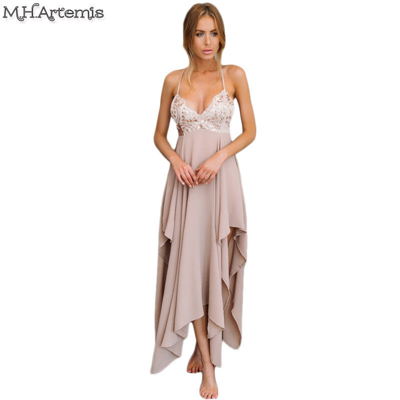fashion cheapest various styles M.H.Artemis Sexy Sequin summer maxi dress slip deep v neck high ...