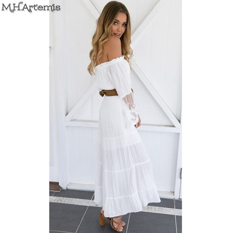 d3877c3923 ... Sexy off shoulder lace embroidery summer dress 2016 white beach party  dress flare sleeve vintage vestido ...