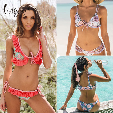 84ef65bc57ac4 MIYOUJ Ruffle Swimsuit Female Push Up Bikini Set Lace-up Swimwear Women  Bikini 2018 Beachwear