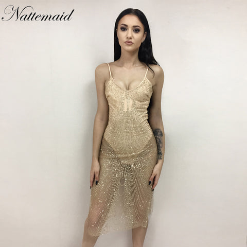 91745ff12b NATTEMAID Dancing party dress Summer dresses Sexy sleeveless V-neck Silver sequin  bodycon vestido party