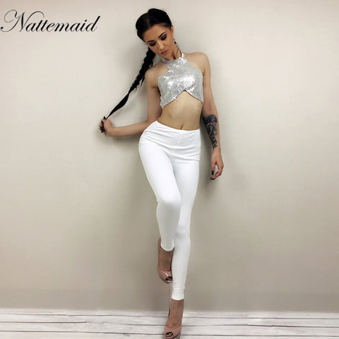 24a53681a65e NATTEMAID Sequins Halter Sleeveless Crop Tops Length Trousers 2 Piece Sets  Women Summer Backless Sexy Coat ...