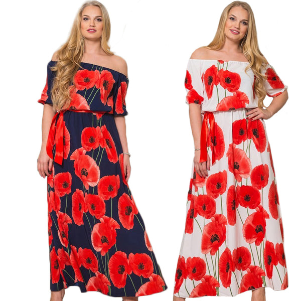 8cf42d2f69399 NEW 2017 Women Floral Boho Summer Dress Plus Size Off Shoulder Maxi Dr –  Honeybee Line