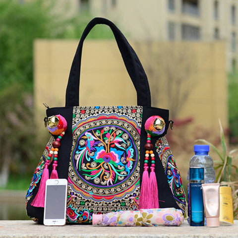 National Trend Chinese Ethnic Embroidery Canvas Bag Hmong Boho Thai Tassel Embroidered  Bags Luxury Famous Brand Logo Handbags 362d92cfe8ca1