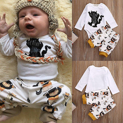 115a18cb7f116 ... New Cotton Newborn Baby Girl Boy Clothes Kids Monster Romper+Pants  Outfits Autumn Clothes Set ...