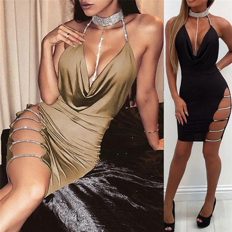 eacdb381f3 New Deep V Neck Halter Sequin Sexy Club Bodycon Dress Summer Women Backless  Hollow Out Party Wear Short Dress