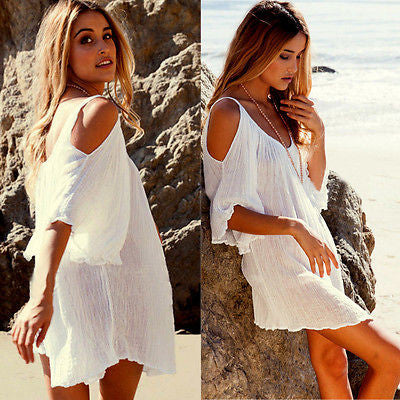 3f6ef148d1b New Fahsion Women Sexy Off Shoulder Kimonos Dress Clothing Cover Top Blouse  Maxi Boho Beach Tunic