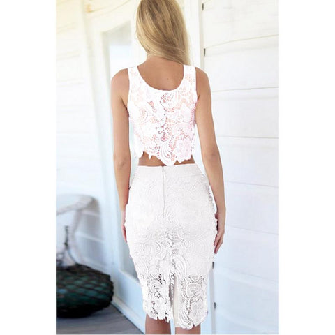 89013456b88 ... New High quality Bodycon Two Piece Dress Sexy White Crochet Lace Hollow  Out Pencil Dress Summer ...
