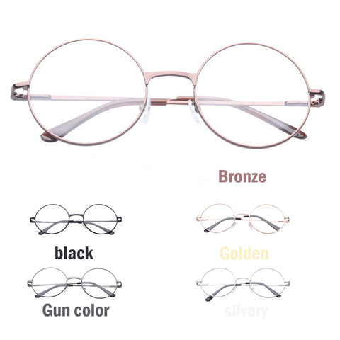 New Man and Women Retro Clear Lens Glasses Frame Plain Mirror Big Round Metal Optical Frame For Girl Eyeglass Optical Lens