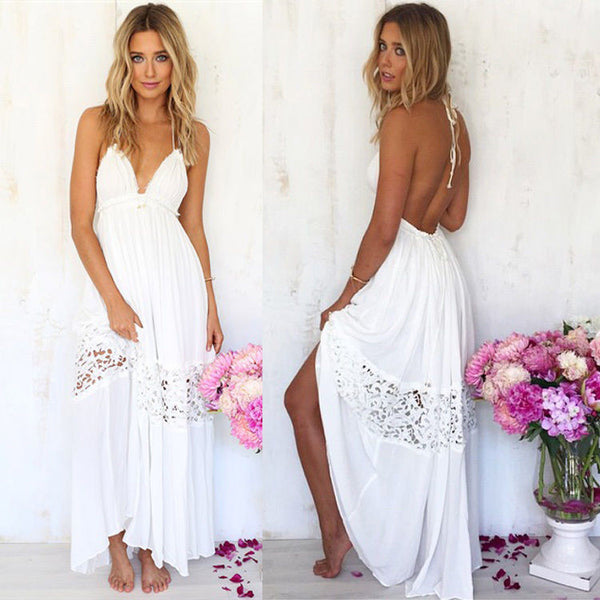 New Solid Maxi Dress Sexy Womens Sundress Backless Summer Tank Beach Long Party