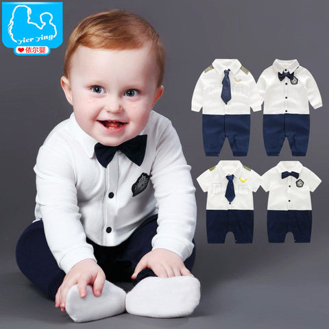 ab989177e12f1 Newborn Baby Boy Rompers 100% Cotton Tie Gentleman Suit Bow Leisure Body  Suit Clothing Toddler Jumpsuit Baby Boys Brand Clothes