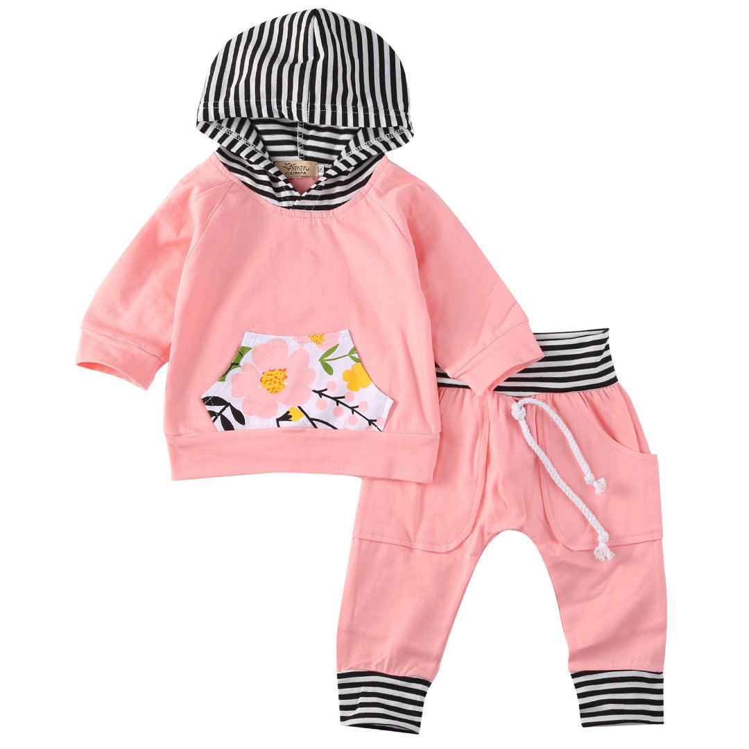 2PCS Newborn Infant Baby Girl Boy Hooded Tops T-Shirt Pullover+Pants Outfits Set