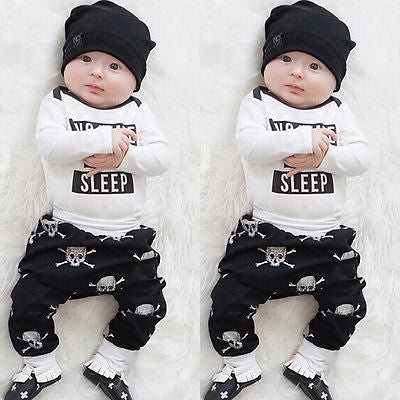 e2bf2a2f8 Newborn Kids Baby Girls Boys Clothes Set Tops Rompers Skull Pants ...