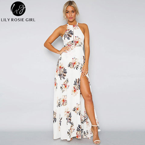 581066dbbfe ... Off Shoulder Boho White Floral Print Maxi Long Dress Women Hollow Out O  Neck Autumn Sexy ...