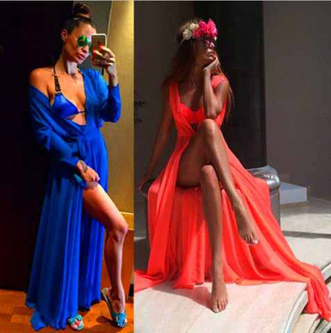 d5f96e0f28 One Size Beach Outings Cover up Chiffon Robe Plage Candy Color Kaftan Dress  Pareos For Women Beach Tunic Sarong Swimsuit BC051
