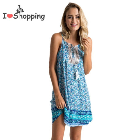 98b0690fcc Print Sexy Boho Dress Casual Women Cami Resort vestido de festa feminino  Monos Cheap Clothes China