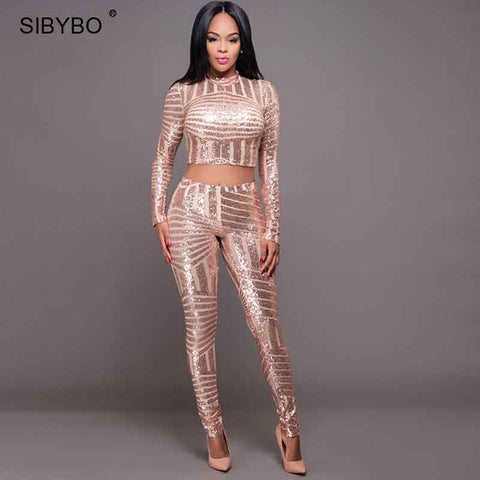 9feb962079ce ... Rompers Womens Jumpsuit 2017 Autumn Style Long Sleeve Gold Sequin  Playsuit Bodysuit Macacao Sexy Bodycon Club ...