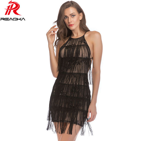c3160cf5de199 Sexy Halter Sequins Summer Dress Women Backless Bandage Tassel Elegant  Nightclub Black Red Pink Gold Party Dressees Vestido 2018