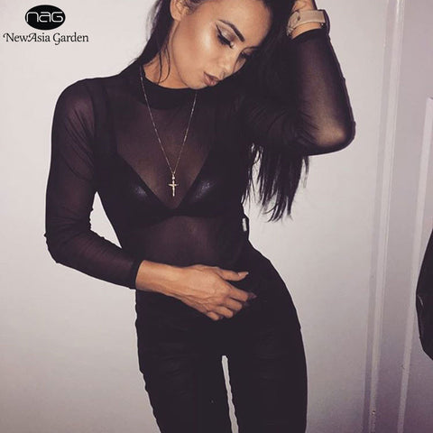 0566c7df2a ... Sexy High Neck Long Sleeve Mesh See Through Snap Buttons Women s  Bodysuits Summer Spring Playsuits Jumpsuits ...