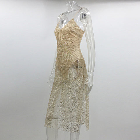 Sexy Sheer Glitter Silver Gold Sequin Party Dresses Women V Neck Side –  Honeybee Line 4f546c1eed03