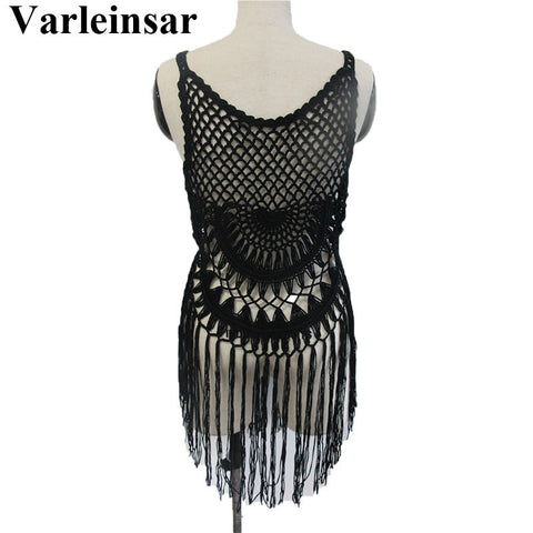 77f790a64e ... Sexy women tunics for beach cover up crochet bikini cover ups tassel  cover-ups bathing ...