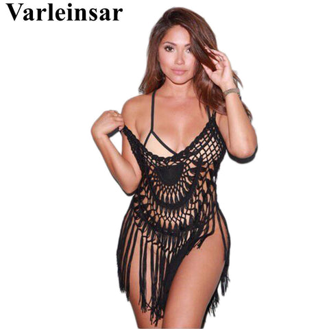 bd58685b53 Sexy women tunics for beach cover up crochet bikini cover ups tassel c – Honeybee  Line