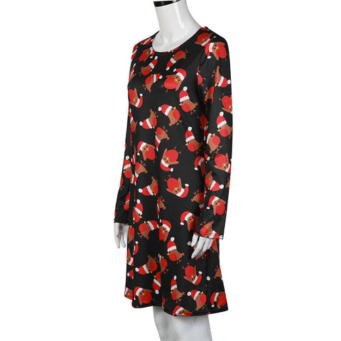 473da69d58cc ... Shocking Show Women Xmas Print Swing Dress Ladies Christmas Long Sleeve  Flared Party Dresses ...