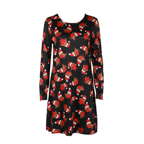 4e131af3d61d Shocking Show Women Xmas Print Swing Dress Ladies Christmas Long Sleeve  Flared Party Dresses