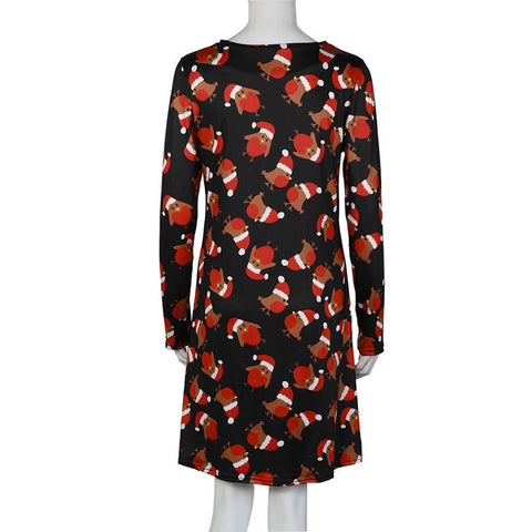 shocking show women xmas print swing dress ladies christmas long sleeve flared party dresses