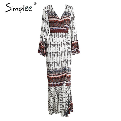 6ecd7e2ddc5 ... Simplee Boho floral print chiffon split long dress Women beach summer v  neck kimono sexy dress ...