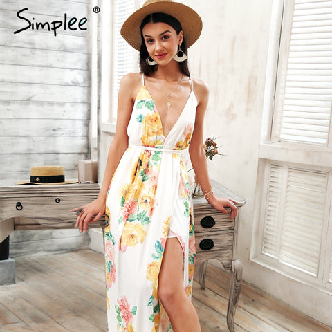 47f3416560 ... Simplee Cross v neck floral print long dress women Backless lace up  summer chiffon maxi dress ...