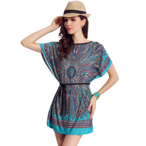 b0e8ec204a4 ... Summer Fashion Casual Bohemian Dresses Women s Plus Size Ice Silk Dress  ...
